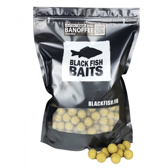 Бойлы тонущие Black Fish Baits HI-ATTRACT Boilies BANOFFEE (баноффи) 14/20мм 2кг