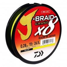 Леска плетеная Daiwa J-Braid GRAND X8 Yellow (желтая) 135m