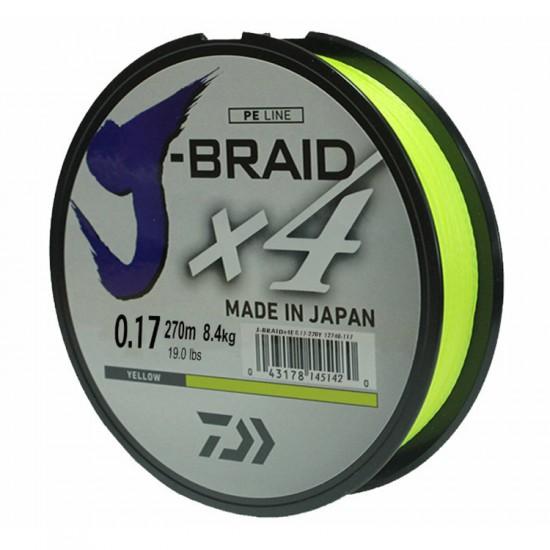 Леска плетеная Daiwa J-Braid X4 Chartreuse (ярко-желтая) 270m