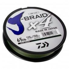 Леска плетеная Daiwa J-Braid X4 Dark Green (темно-зеленая) 135m