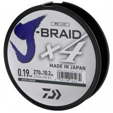 Леска плетеная Daiwa J-Braid X4 Dark Green (темно-зеленая) 270m