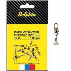 Коннектор скользящий для поплавка Delphin Inline Head Swivel with Interlock D-03