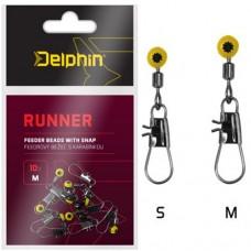 Бусина с карабином Delphin RUNNER Feeder Runner with Snap 10шт.