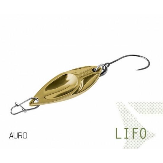 Блесна колеблющаяся Delphin LIFO Spoon 2.5g AURO