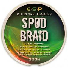 Леска плетеная для спода ESP SPOD Braid 0,22mm 20lb Hi-Viz Fluoro Green 300m