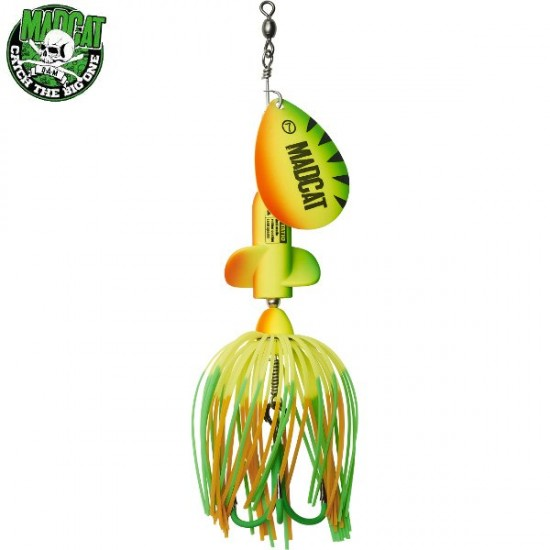 Блесна вращающаяся MADCAT A-STATIC SCREAMING SPINNER Treble Hook 65g FIRETIGER UV
