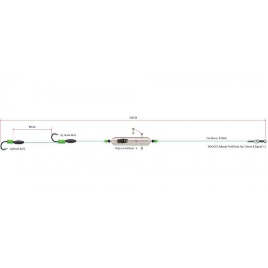Готовые оснастки на сома MADCAT ADJUSTA PROFI RIVER RIGS «WORM & SQUID»