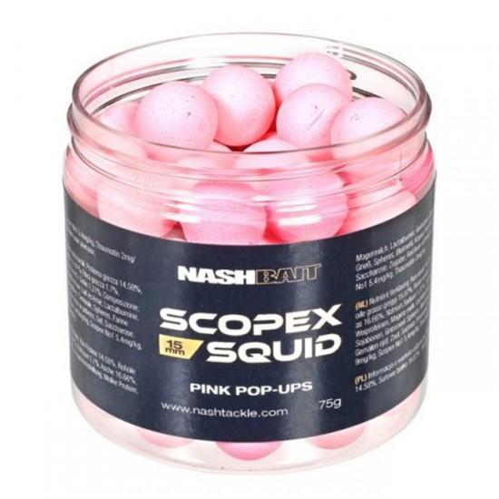 Бойлы плавающие Nash Bait SCOPEX SQUID Pop Ups PINK Boilies 15/18мм
