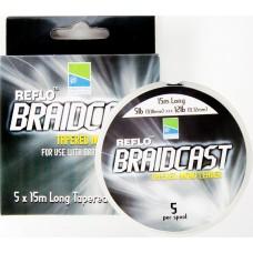 Шок-лидер конусный Preston Innovations REFLO BRAIDCAST Tapered Mono Leader 5x15m