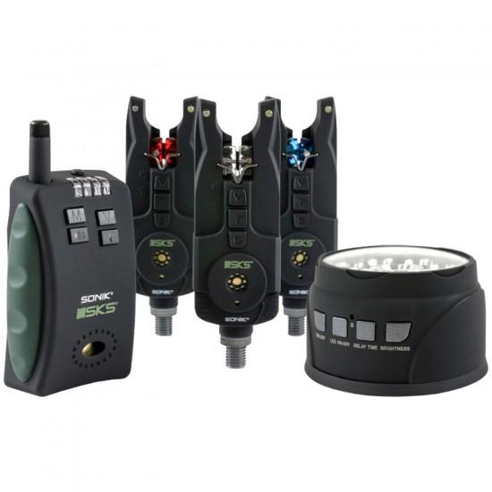 Комплект сигнализаторов поклевки с лампой SONIK SKS Alarm 3+1 Set + Bivvy Lamp