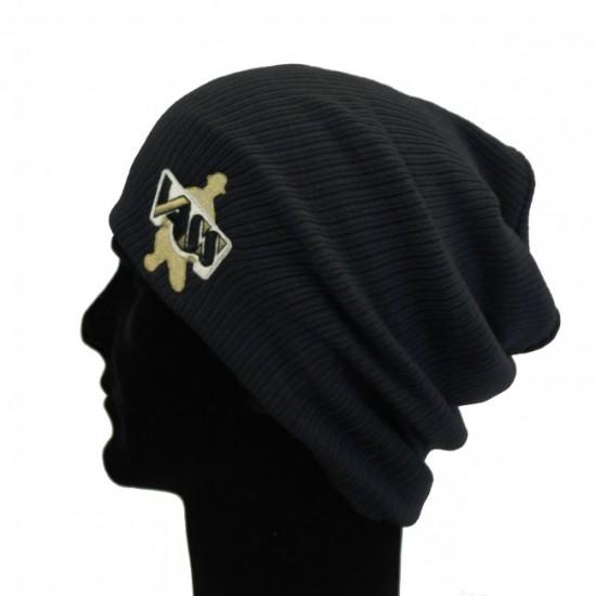 Шапка VASS Slouch Beanie Hat Black (черная)