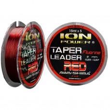 Шок лидер конусный Awa-Shima ION POWER FLUORINE RED TAPER LEADER 15m 5шт красный