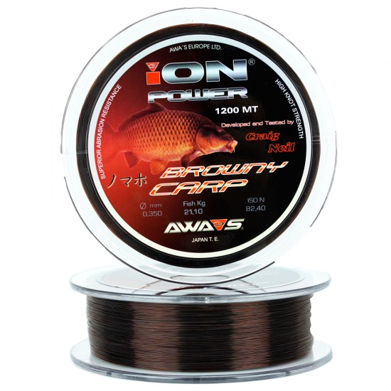 Карповая леска Awa-Shima ION POWER BROWNY CARP 1200m коричневая