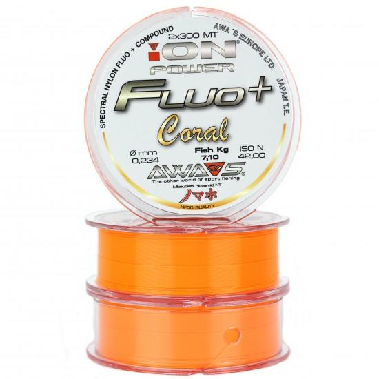 Карповая леска AWA'S ION POWER FLUO+ CORAL 600m (2x300m) оранжевая