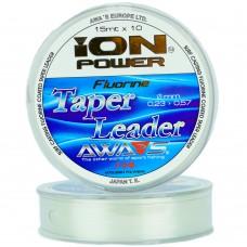 Шок лидер конусный AWA'S ION POWER FLUORINE TAPER LEADER 15m 10шт прозрачный
