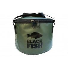 Ведро мягкое для прикормки с крышкой Black Fish Collapsible Bucket 14 Litre